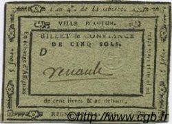 5 Sols FRANCE régionalisme et divers AUTUN 1792 Kc.71.002d TTB