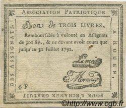 3 Livres FRANCE régionalisme et divers Rouen 1792 Kc.76.162 TTB