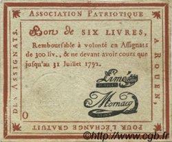 6 Livres FRANCE régionalisme et divers Rouen 1792 Kc.76.163 TTB