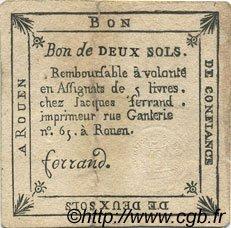 2 Sols FRANCE régionalisme et divers ROUEN 1792 Kc.76.164 TTB