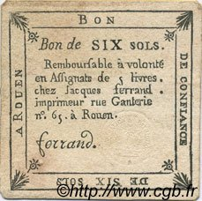 6 Sols FRANCE régionalisme et divers ROUEN 1792 Kc.76.167 SUP