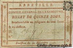 15 Sous FRANCE régionalisme et divers ABBEVILLE 1791 Kc.80.005 TTB