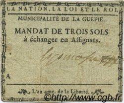 3 Sols FRANCE régionalisme et divers LA GUEPIE 1792 Kc.81.029var TTB