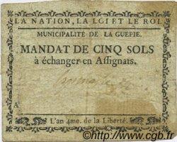 5 Sols FRANCE régionalisme et divers LA GUEPIE 1792 Kc.81.031 TB