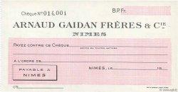 Francs FRANCE régionalisme et divers NÎMES 1943 DOC.Chèque NEUF
