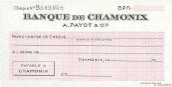 Francs FRANCE régionalisme et divers CHAMONIX 1943 DOC.Chèque NEUF