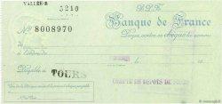 Francs FRANCE régionalisme et divers TOURS 1943 DOC.Chèque SUP