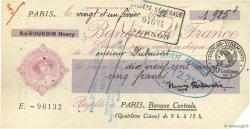 1925 Francs FRANCE régionalisme et divers Paris 1924 DOC.Chèque TTB