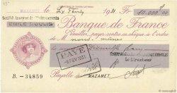10000 Francs FRANCE régionalisme et divers MAZAMET 1931 DOC.Chèque SUP