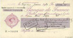 5322,15 Francs FRANCE régionalisme et divers MAZAMET 1931 DOC.Chèque SUP