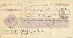 15063,60 Francs FRANCE régionalisme et divers Bordeaux 1907 DOC.Chèque SUP