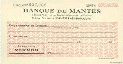 Francs FRANCE régionalisme et divers MANTES-GASSICOURT 1943 DOC.Chèque SUP