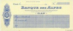 Francs FRANCE régionalisme et divers GAP 1910 DOC.Chèque SUP
