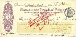 360 Francs FRANCE régionalisme et divers PARIS 1933 DOC.Chèque SUP