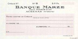 Francs FRANCE régionalisme et divers AUBENAS 1943 DOC.Chèque SPL