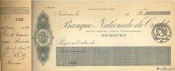 Francs FRANCE régionalisme et divers NEMOURS 1920 DOC.Chèque SUP