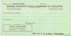 Francs FRANCE régionalisme et divers Bordeaux 1943 DOC.Chèque SPL