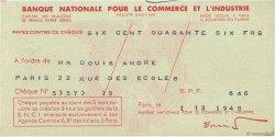 646 Francs FRANCE régionalisme et divers Paris 1948 DOC.Chèque SUP