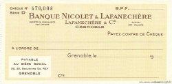 Francs FRANCE régionalisme et divers Grenoble 1943 DOC.Chèque SPL