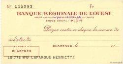 Francs FRANCE régionalisme et divers CHARTRES 1943 DOC.Chèque SUP