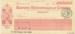 Francs FRANCE régionalisme et divers Roanne 1920 DOC.Chèque SUP