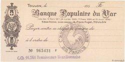 Francs FRANCE régionalisme et divers Toulon 1950 DOC.Chèque SPL