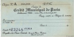 Francs FRANCE régionalisme et divers Paris 1943 DOC.Chèque TTB