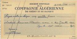 5000 Francs FRANCE régionalisme et divers Lyon 1950 DOC.Chèque SUP