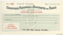 Francs FRANCE régionalisme et divers HONFLEUR 1943 DOC.Chèque NEUF