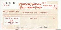 Francs FRANCE régionalisme et divers Paris 1960 DOC.Chèque SPL