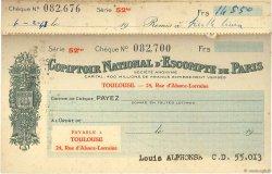 Francs FRANCE régionalisme et divers TOULOUSE 1961 DOC.Chèque TTB