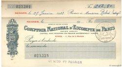 Francs FRANCE régionalisme et divers RENNES 1934 DOC.Chèque TTB