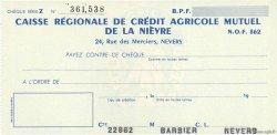 Francs FRANCE régionalisme et divers NEVERS 1943 DOC.Chèque NEUF