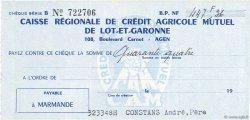447,36 Francs FRANCE régionalisme et divers Agen 1960 DOC.Chèque SUP