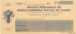 Francs FRANCE régionalisme et divers TIARET (ALGÉRIE) 1950 DOC.Chèque NEUF