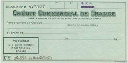 Francs FRANCE régionalisme et divers Bordeaux 1960 DOC.Chèque SPL