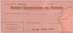 Francs FRANCE régionalisme et divers DRAGUIGNAN 1943 DOC.Chèque TTB