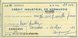 25000 Francs FRANCE régionalisme et divers Conches 1953 DOC.Chèque SUP