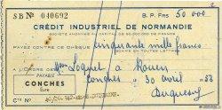 50000 Francs FRANCE régionalisme et divers CONCHES 1953 DOC.Chèque SUP