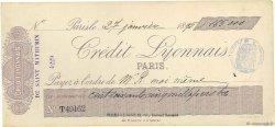 Francs FRANCE régionalisme et divers Paris 1895 DOC.Chèque SUP