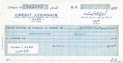 (écriture arabe) FRANCE régionalisme et divers ALEP (SYRIE) 1947 DOC.Chèque SPL