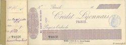 Francs FRANCE régionalisme et divers PARIS 1907 DOC.Chèque TTB