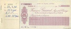 Francs FRANCE régionalisme et divers PARIS 1946 DOC.Chèque SUP