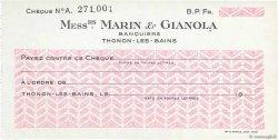 Francs FRANCE régionalisme et divers THONON-LES-BAINS 1943 DOC.Chèque SPL