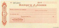 Francs FRANCE régionalisme et divers Tourcoing 1943 DOC.Chèque SPL