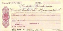 Francs FRANCE régionalisme et divers Bordeaux 1943 DOC.Chèque SUP