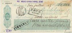 16000 Francs FRANCE régionalisme et divers Bordeaux 1907 DOC.Chèque SUP