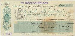 5000 Francs FRANCE régionalisme et divers Bordeaux 1907 DOC.Chèque TTB