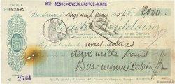 2000 Francs FRANCE régionalisme et divers BORDEAUX 1907 DOC.Chèque TTB