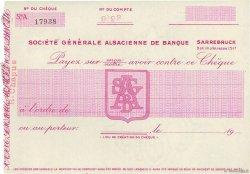 Francs FRANCE régionalisme et divers SARREBRUCK (ALLEMANGNE) 1947 DOC.Chèque SUP